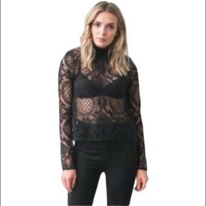 Brunette the Label 'Tracy' Lace Mock Neck Top